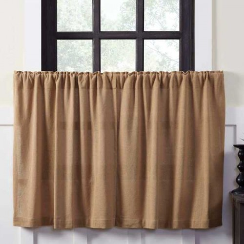 Burlap Natural Tier Curtains Set of 2 L36xW36