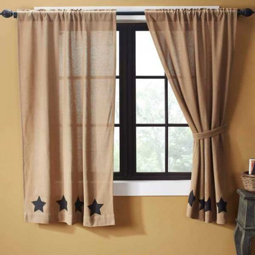 Burlap w/Black Stencil Stars Short Curtain Panel Set of 2 63x36