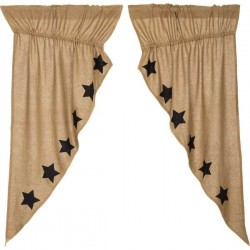Burlap w/Black Stencil Stars Short Prairie Curtain Panel Set of 2 63x36x18