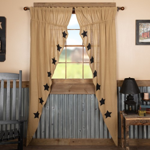 Burlap w/Black Stencil Stars Long Prairie Curtain Panel Set of 2 84x36x18