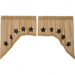 Burlap w/Black Stencil Stars Swag Curtains Set of 2 36x36x16