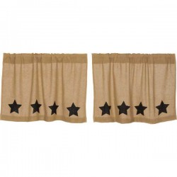 Burlap w/Black Stencil Stars Tier Curtains Set of 2 L24xW36