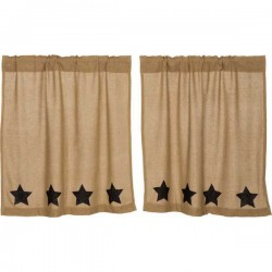 Burlap w/Black Stencil Stars Tier Curtains Set of 2 L36xW36