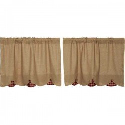 Burlap w/Burgundy Check Scalloped Tier Set of 2 L24xW36