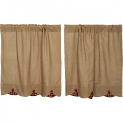 Burlap w/Burgundy Check Scalloped Tier Curtain Set of 2 L36xW36