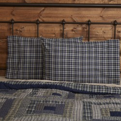 Columbus Standard Navy Plaid Pillow Case Set Of 2