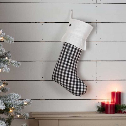 Emmie Black Check Stocking 12x20