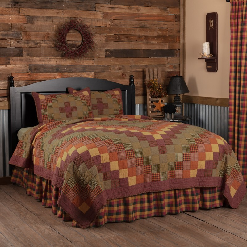 PRIMITIVE CHECK Queen Bed Skirt Burgundy//Black//Mustard Farmhouse Rustic Country