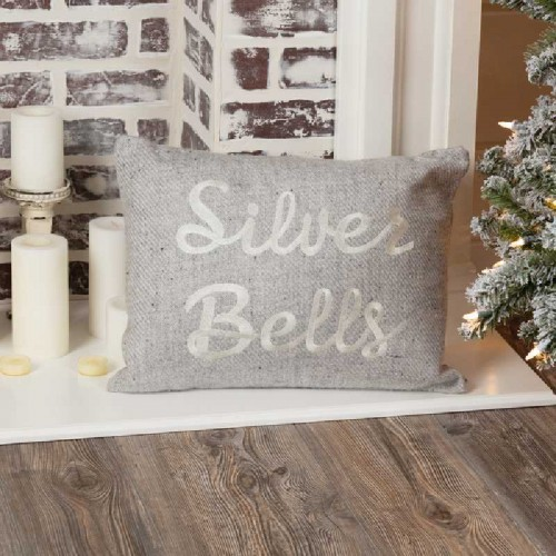 "Tinsley Silver Bells Pillow 14"" x 18"""