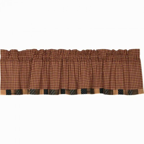 Patriotic Patch Valance Curtain Block Border 16x72
