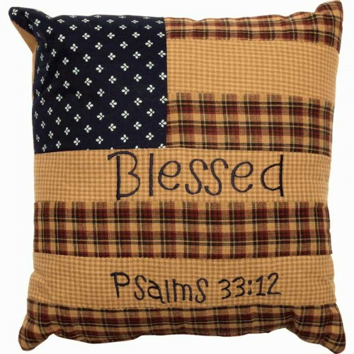 Patriotic Patch Pillow - Blessed