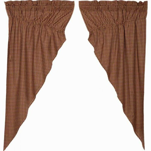 Patriotic Patch Plaid Lined Prairie Curtains 63""