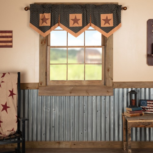 Patriotic Patch Star Block Valance Pleated 20x60