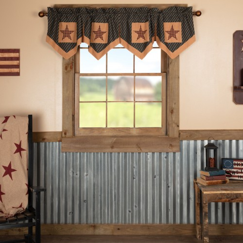Patriotic Patch Star Block Valance Pleated 20x72