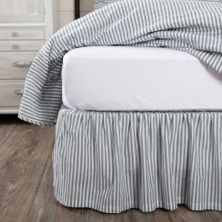 Sawyer Mill Blue Ticking Stripe Queen Bed Skirt