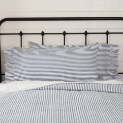 Sawyer Mill Blue Ticking Stripe King Pillow Case Set of 2 21x40