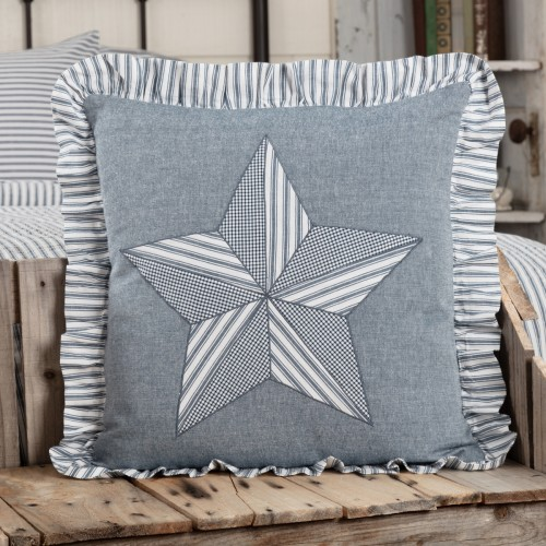 Sawyer Mill Blue Barn Star Pillow 18x18