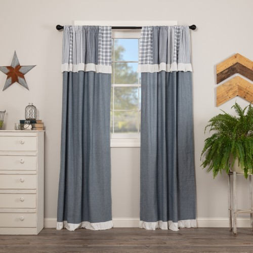 Sawyer Mill Blue Panel with Attached Patchwork Valance Set of 2 84x40