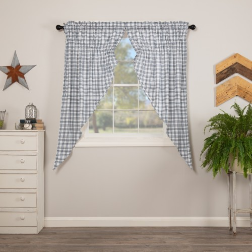 Sawyer Mill Blue Plaid Prairie Short Panel Set of 2 63x36x18