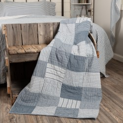 Sawyer Mill Blue Block Quilted 60x50 Farmhouse Throw Blanket