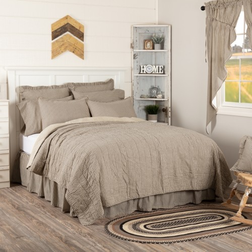 Sawyer Mill Charcoal Ticking Stripe Twin Quilt Coverlet 68Wx86L