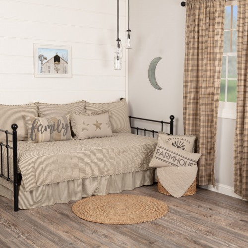Sawyer Mill Charcoal Ticking Stripe 5pc Daybed Quilt Set