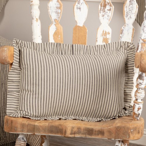 Sawyer Mill Charcoal Ticking Stripe Fabric Pillow 14x22