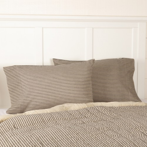 Sawyer Mill Charcoal Ticking Stripe Standard Pillow Case Set of 2 21x30