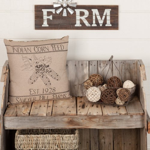 Sawyer Mill Charcoal Corn Feed 18x18 Farmhouse Pillow
