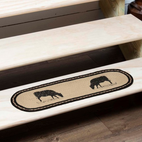 Sawyer Mill Charcoal Cow Jute Stair Tread Oval Latex 8.5x27
