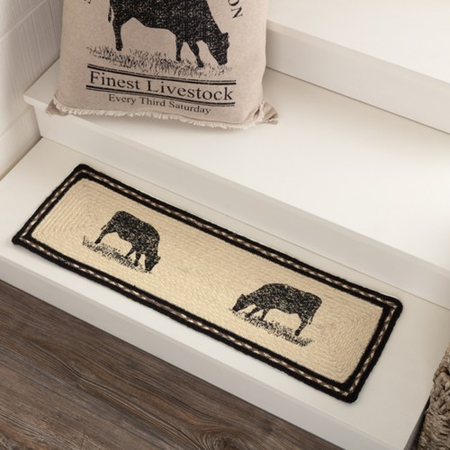 Sawyer Mill Charcoal Cow Jute Stair Tread Rect Latex 8.5x27