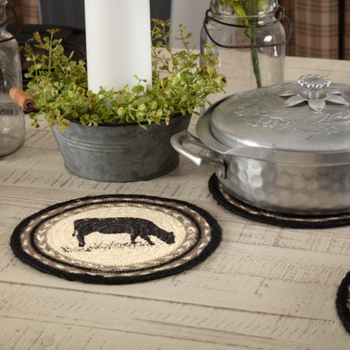 Sawyer Mill Charcoal Cow Jute Trivet 8