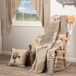 Sawyer Mill Charcoal Farm Animal 60x50 Quilted Throw