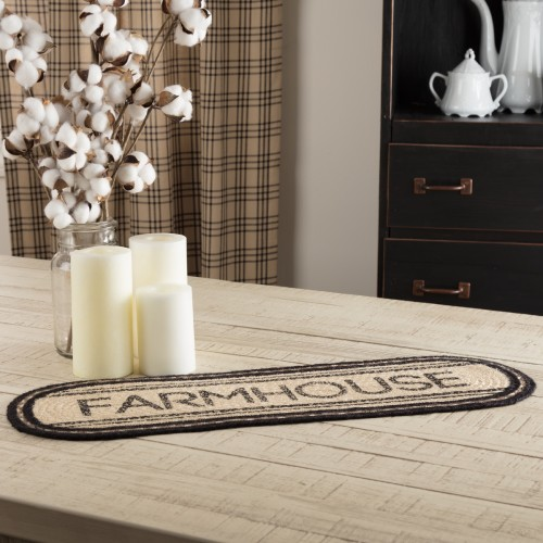 Sawyer Mill Charcoal Farmhouse Jute Oval Runner 8x24