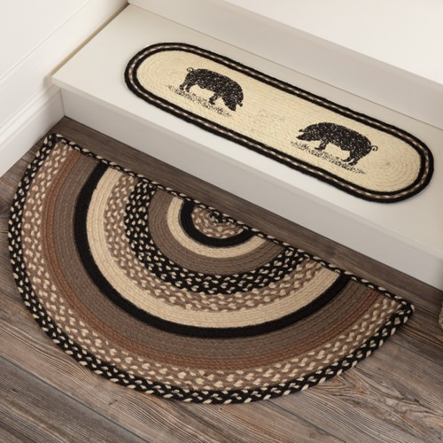 Sawyer Mill Charcoal Jute Rug Half Circle 16.5x33