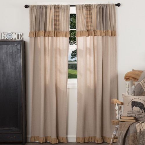 Sawyer Mill Charcoal Curtain Panel with Attached Patchwork Valance Curtain Set of 2 84x40
