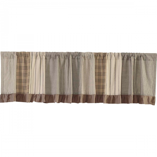 Sawyer Mill Charcoal Patchwork Lined Valance Curtain 19x72