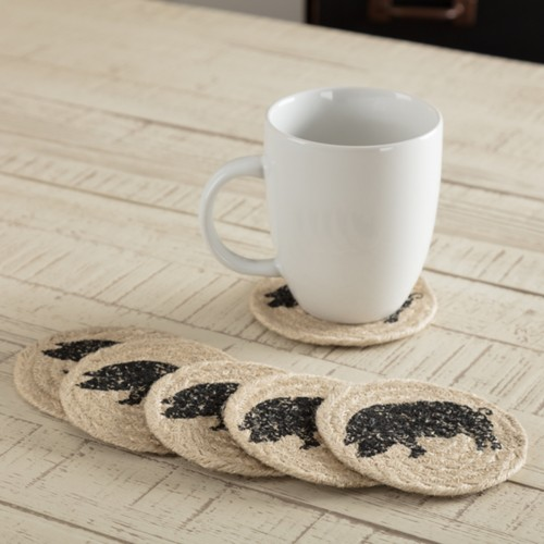 Sawyer Mill Charcoal Pig Jute Coaster Set of 6