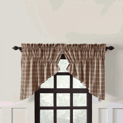 Sawyer Mill Charcoal Plaid Prairie Swag Curtain Panel Set of 2 36x36x18