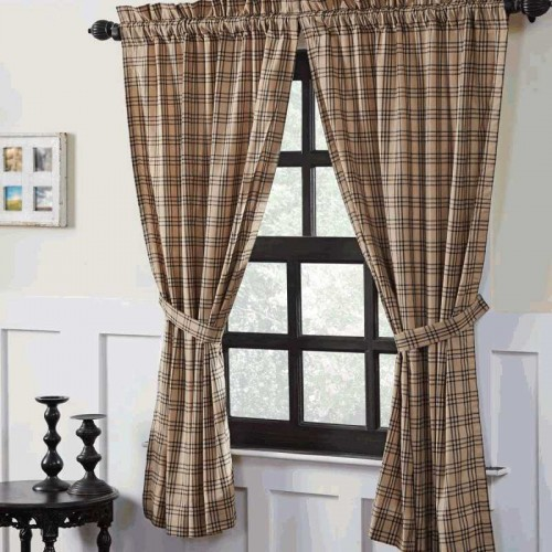 Sawyer Mill Charcoal Plaid Short Curtain Panel Set of 2 63x36