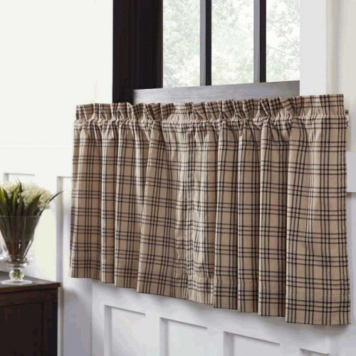 Sawyer Mill Charcoal Plaid Tier Curtain Panel Set of 2 L24xW36