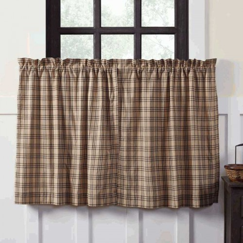 Sawyer Mill Charcoal Plaid Tier Curtain Panel Set of 2 L36xW36