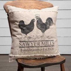 Sawyer Mill Charcoal Chicken Pillow 18x18