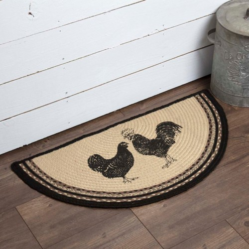 Sawyer Mill Charcoal Poultry Jute Rug Half Circle 16.5x33