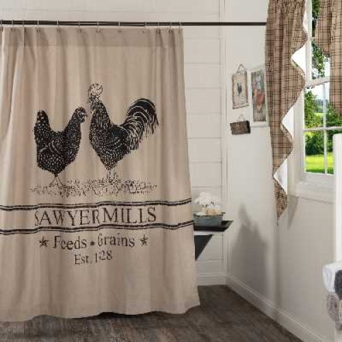 Sawyer Mill Charcoal Poultry Farmhouse Shower Curtain 72x72