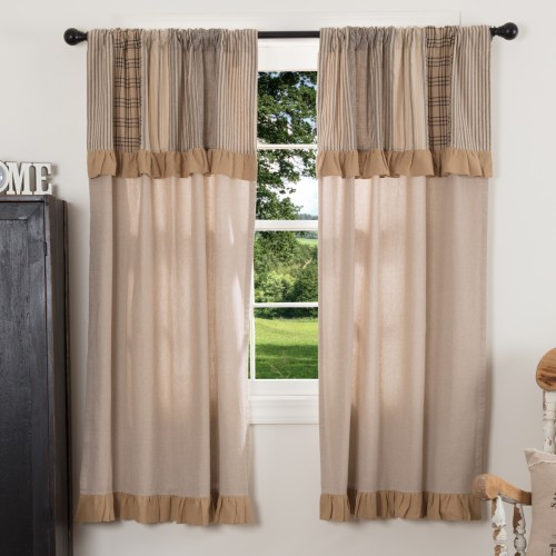 Sawyer Mill Charcoal Short Curtain Panel with Attached Patchwork Valance Set of 2 63x36