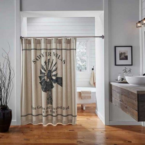Sawyer Mill Charcoal Windmill Shower Curtain 72x72