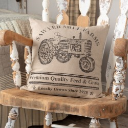 Sawyer Mill Charcoal Tractor 18x18 Farmhouse Pillow