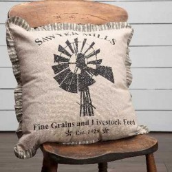 Sawyer Mill Charcoal Windmill 18x18 Farmhouse Pillow