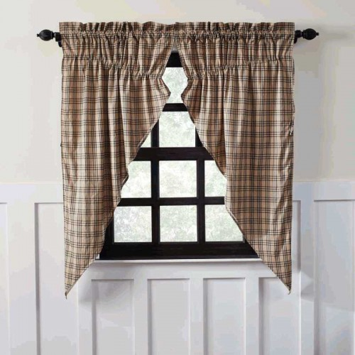 Sawyer Mill Charcoal Plaid Prairie Short Curtain Panel Set of 2 63x36x18